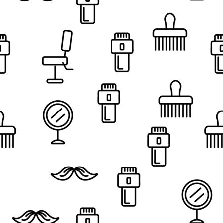 Barbershop Accessories Vector Seamless Pattern Contour Illustration