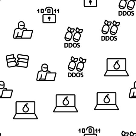 Cyber Attack Seamless Pattern Vector Contour Illustration
