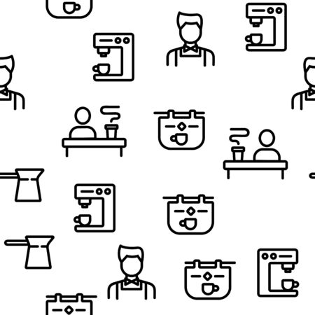 Barista Equipment Seamless Pattern Vector Contour Illustration