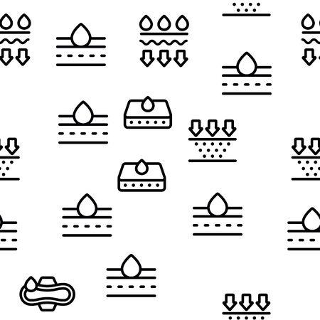 Absorbant, matériaux absorbants Vector Seamless Pattern Contour Illustration Vecteurs