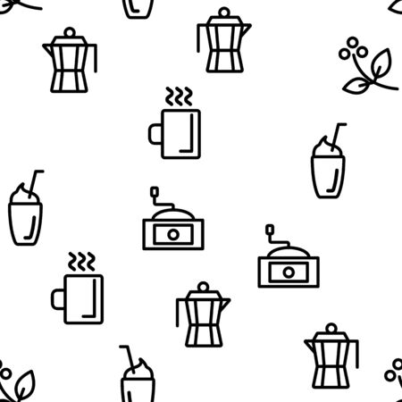 Coffee Equipment Seamless Pattern Vector Contour Illustration