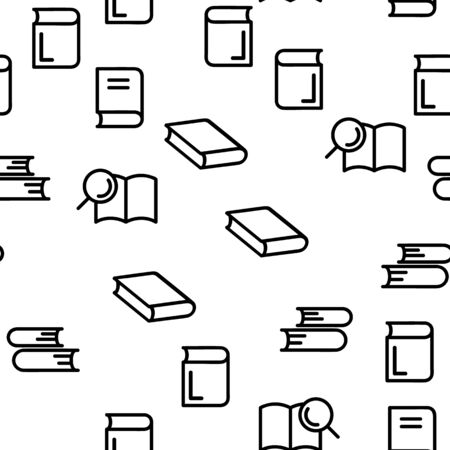 Library Book Education Seamless Pattern Vector Illustration Çizim