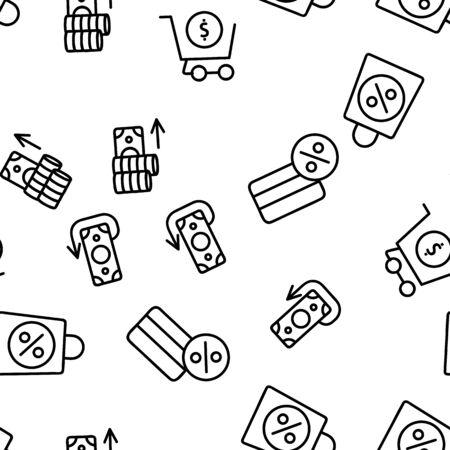 Buyer Elements Seamless Pattern Vector Contour Illustrations Çizim