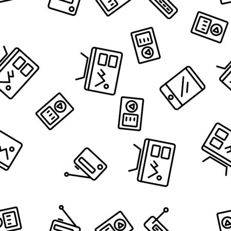 Different Devices Seamless Pattern Vector Contour Illustrations