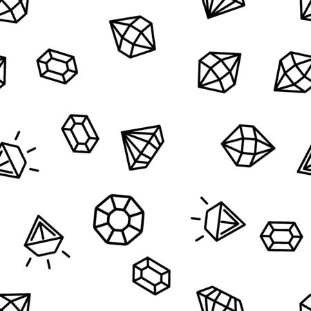 Diamonds, Gems Vector Seamless Pattern Contour Illustration Stockfoto - 129402344