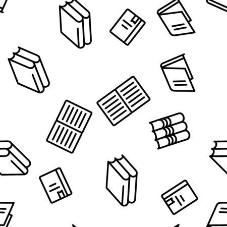 Library Book Education Seamless Pattern Vector Illustration Stock Illustratie