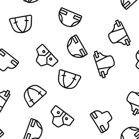 Baby Absorbent Diapers Vector Seamless Pattern Contour Illustration Illustration
