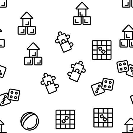 Interactive Kids Games Vector Seamless Pattern Contour Illustration Çizim