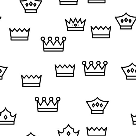 Royal Headwear, Crowns And Tiaras Vector Icons Seamless Pattern Illustration