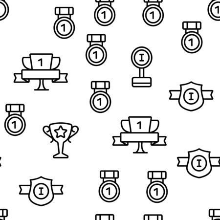 Trophies And Medals For First Place Vector Seamless Pattern Illustration