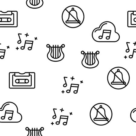 Music, Audio Vector Seamless Pattern Contour Illustration