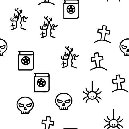 Halloween Seamless Pattern Vector Thin Line Contour Illustrations Çizim