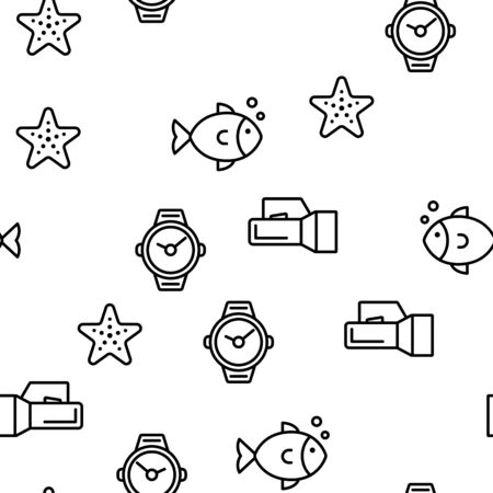 Scuba Diving Equipment Vector Seamless Pattern Illustration