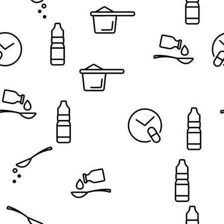 Dosage, Dosing Drugs Vector Seamless Pattern Illustration Çizim