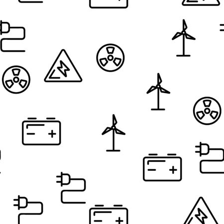 Electricity Industry Seamless Pattern Vector. Contour Illustration Ilustrace