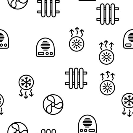 Heating And Cooling System Vector Seamless Pattern Contour Illustration 일러스트