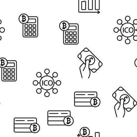 ICO, Bitcoin Vector Seamless Pattern Contour Illustration Çizim