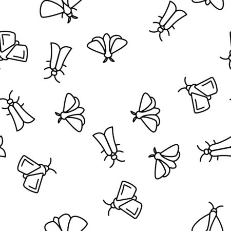 Moth, Insects Entomologist Seamless Pattern Vector Thin Line Illustration