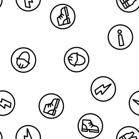 Mandatory Signs Marks Vector Seamless Pattern Contour Illustration
