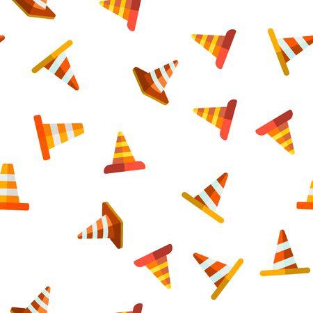 Traffic Orange Cones Vector Color Seamless Pattern Flat Illustration  イラスト・ベクター素材