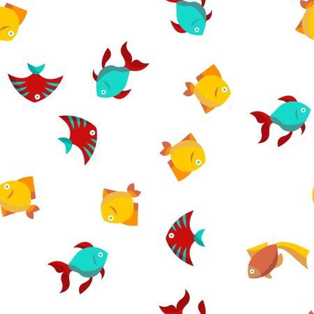 Fish, Exotic Species Vector Seamless Pattern Color Flat Illustration 向量圖像