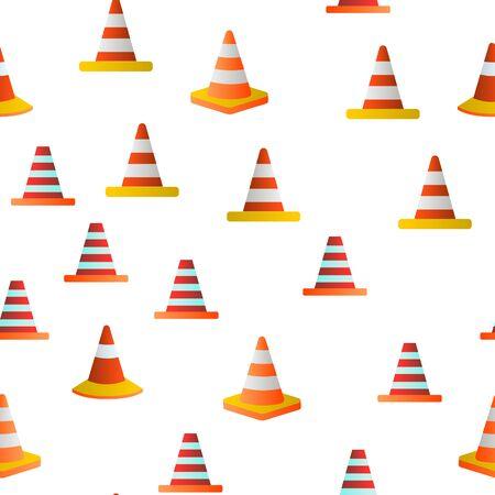 Traffic Orange Cones Vector Color Seamless Pattern Flat Illustration