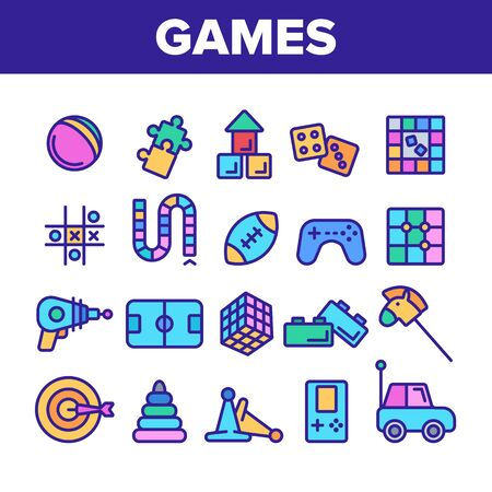 Color Kids Games Vector Thin Line Icons Set. Video Games Controller And Rugby Football Ball, Ray Gun And Car Toy Linear Pictograms. Tetris And Darts Contour Illustrations Çizim