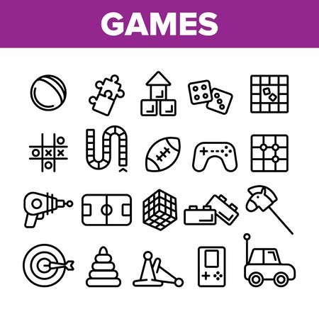 Interactive Kids Games Vector Thin Line Icons Set. Video Games Controller And Rugby Football Ball, Ray Gun And Car Toy Linear Pictograms. Tetris And Darts Monochrome Contour Illustrations