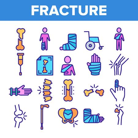 Color Fracture Elements Vector Sign Icons Set Thin Line. Gypsum Foot And Hand Arm Crutch, Bones Fracture Linear Pictograms. Medicine Details And Character Contour Illustrations
