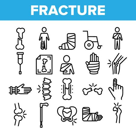 Collection Fracture Elements Vector Sign Icons Set Thin Line. Gypsum Foot And Hand Arm Crutch, Bones Fracture Linear Pictograms. Medicine Details And Character Monochrome Contour Illustrations Stock Illustratie