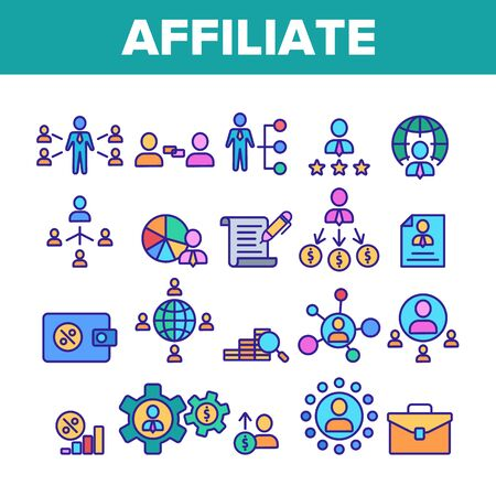 Color Affiliate Elements Vector Icons Set Thin Line. Affiliate Marketing And Business, Management And Finance, Strategy And Planning Concept Linear Pictograms. Illustrations Illusztráció