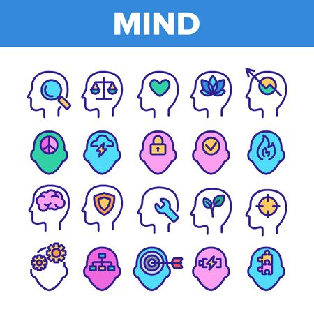 Color Mind Elements Vector Sign Icons Set. Padlock And Fire, Plant Leaves And Shield, Puzzle And Battery, Heart And Mind In Man Head Silhouette Linear Pictograms. Illustrations