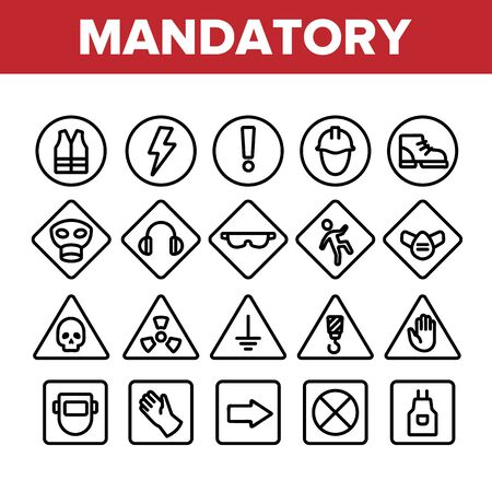 Collection Mandatory Signs Marks Vector Icons Set Thin Line. Safety And Health Protection Inform Mandatory Signs Linear Pictograms. Warning Alert Symbols Monochrome Contour Illustrations