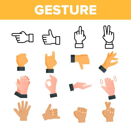 Collection Gesture Elements Vector Sign Icons Set Thin Line. Arm Gesture Ok And Peace, Palm And Fist, Rock Horns And Showing Indicating Signal Linear Pictograms. Monochrome Contour Illustrations