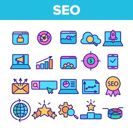Color Seo Search Engine Optimization Icons Seo Vector Thin Line. Collection Of Different Seo Elements Infographic And Mail Message, Social Marketing Signs Linear Pictograms. Contour Illustrations
