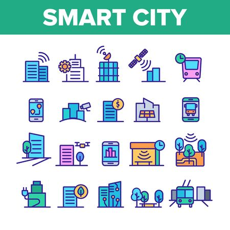 Color Smart City Elements Icons Set Vector Thin Line. Intelligence Town Control And Security, Smart Navigation And Direction on Smartphone Linear Pictograms. Illustrations