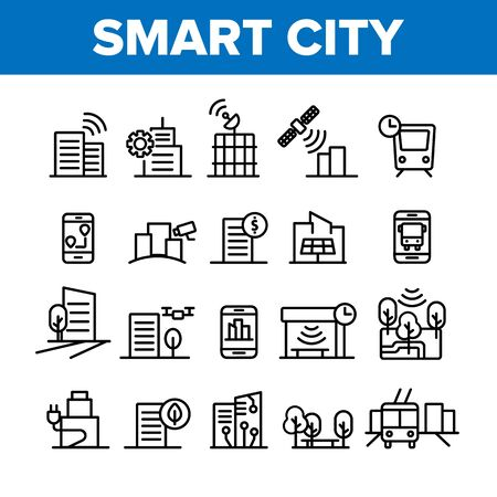 Collection Smart City Elements Icons Set Vector Thin Line. Intelligence Town Control And Security, Smart Navigation And Direction on Smartphone Linear Pictograms. Monochrome Contour Illustrations