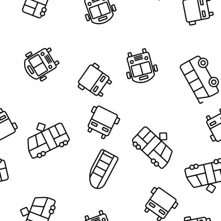 Public Transport And Vehicle Vector Seamless Pattern Thin Line Illustration