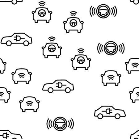 Smart Car Vector Seamless Pattern Thin Line Illustration