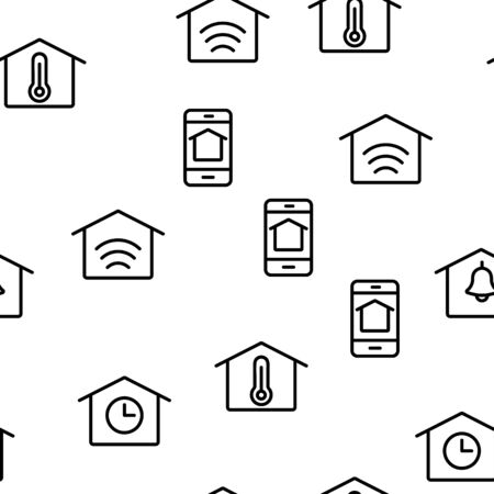 Smart Home Vector Seamless Pattern Thin Line Illustration