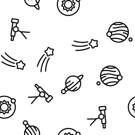 Space Exploration Vector Seamless Pattern Thin Line Illustration