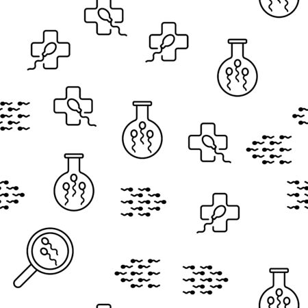 Sperm Cells Vector Seamless Pattern Thin Line Illustration