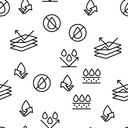 Waterproof, Water Resistant Materials Vector Seamless Pattern Thin Line Illustration