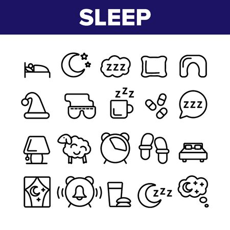 Collection Sleep Time Elements Vector Icons Set Thin Line. Bed And Lamp, Slippers And Clock With Alarm Signal, Drink Cup And Pills Concept Linear Pictograms. Monochrome Contour Illustrations Ilustração