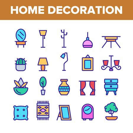 Collection Home Decoration Items Vector Icons Set Thin Line. Chandelier And Lamp Lighting Equipment House Decoration Concept Linear Pictograms. Furniture And Mirror Monochrome Contour Illustrations