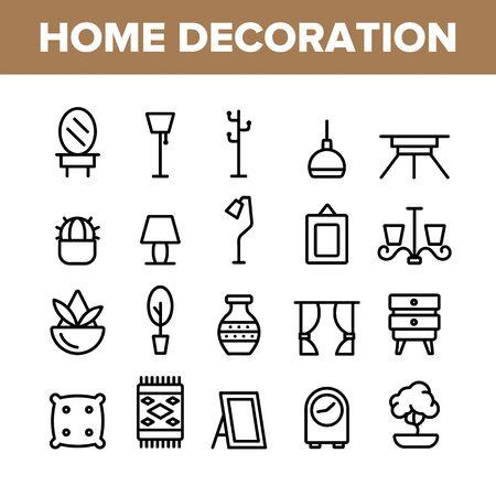 Collection Home Decoration Items Vector Icons Set Fine Line. Lustre et lampe équipement d'éclairage Concept de décoration de maison pictogrammes linéaires. Meubles et miroir Illustrations monochromes de contour Vecteurs