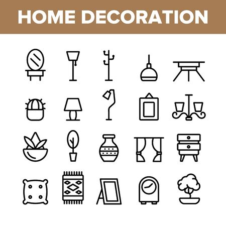 Collection Home Decoration Items Vector Icons Set Thin Line. Chandelier And Lamp Lighting Equipment House Decoration Concept Linear Pictograms. Furniture And Mirror Monochrome Contour Illustrations Vector Illustration