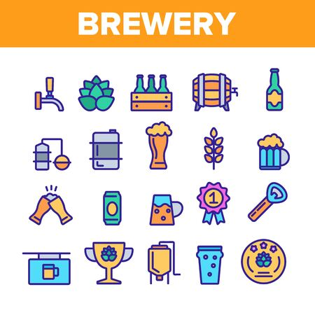 Collection Beer Brewery Elements Vector Icons Set Thin Line. Alcohol Foam Drink Brewery Concept Linear Pictograms. Barrel And Bottle, Faucet And Keg Monochrome Contour Illustrations