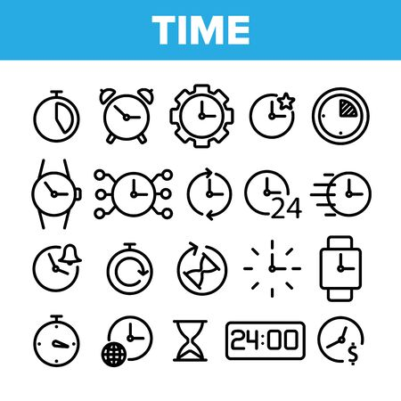 Different Time Clock Collection Vector Icons Set Thin Line. Hourglass And Watch, Alarm-clock And Electronic Digital Clock Concept Linear Pictograms. Monochrome Contour Illustrations