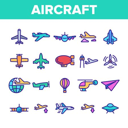 Collection Aircraft Elements Vector Icons Set Thin Line. Aircraft Commercial Air Transportation And Shipping Concept Linear Pictograms. Airplane And Helicopter Monochrome Contour Illustrations